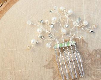 Bridal Hair Comb | Pearl and Crystal Bridal Hair Accessory | Sprig Hair Comb