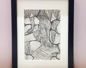 Original Drawing : Garud Chatti Waterfall, The Reinterpretation no.1