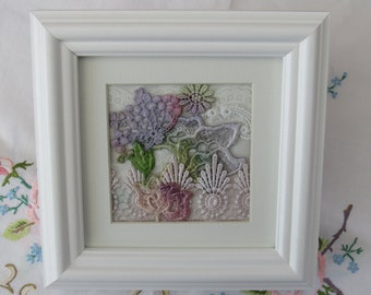 Hand Dyed Lace Picture Presented in Box Frame