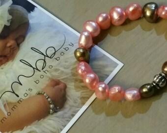 Genuine Pearl Newborn Bracelet, Pink Brown Baby Bracelet, Newborn Photo Shoot, Baby Accessories