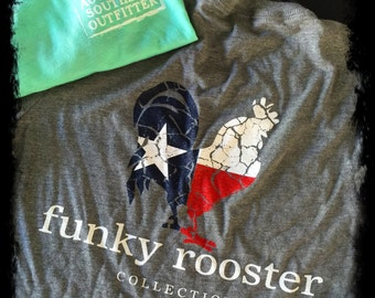 Funky Rooster Signature Texas Flag Soft Style Tee