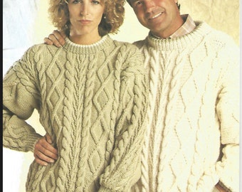 His Hers Knit Chunky Sweaters with cables  womens  and mens pullover jumper tunic vintage pattern instant download pdf