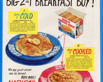 CLEARANCE - Vintage 1949 Nabisco Shredded Wheat Cooked or Cold Art Decor Original Print Ad