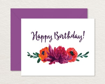 Printable Birthday Card / Hand-painted Flowers / Happy Birthday Printable / Floral Birthday Card