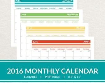 2017 Editable Monthly Printable Calendar / Ombre Stripes 8.5x11 / Planner Calendar / Wall Calendar