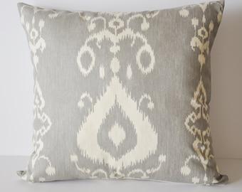 IKAT PILLOW COVER // Gray Ikat Pillow, Ikat Pillow, Grey pillow, Ikat pillow, Cushion cover, Farmhouse, Industrial