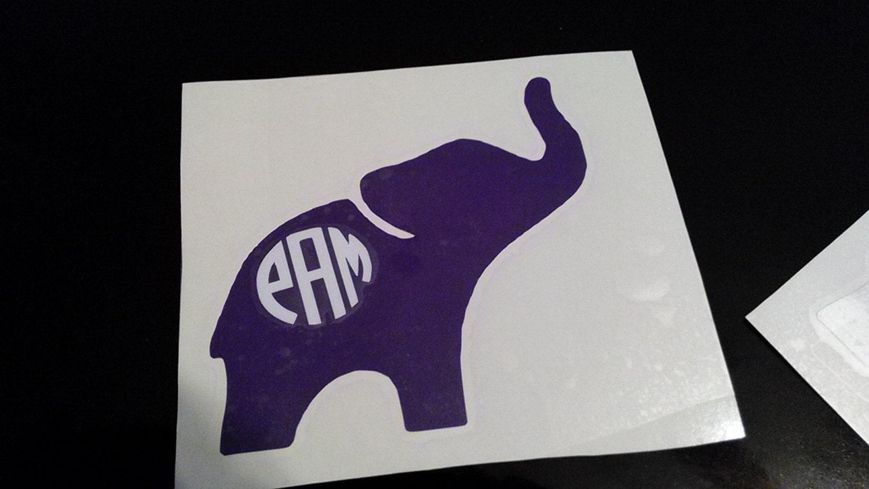 Cute Baby Elephant Monogram Decal Monogram Decal Car Decal - Elephant monogram car decal