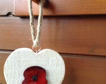 Poppy Wooden  Heart Wall Hanger Shabby Chic Hand enamelled