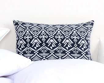 Boho Blue Navy Nautical HMONG Textile Printed Ethnic Natural Dyed Printed Indigo Lumbar Pillow Case
