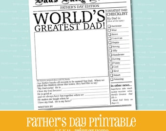 FATHER'S DAY PRINTABLE, Gift for Dad, Newspaper printable, printable, Instant Download, Printable Gift, Father's Day Gift, Father's Day