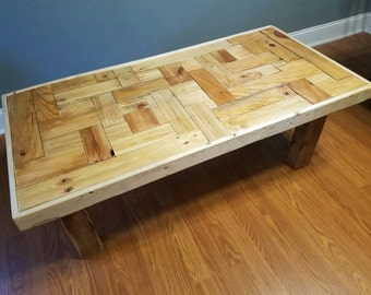 Reclaimed Wood Coffee Table - Tiled Tabletop