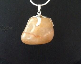 Citrine Pendant, natural crystal Beachstone. Made in Ireland.
