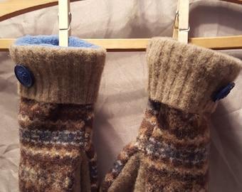 Mom's Blue Fleece-Lined Wool Mittens