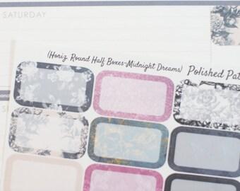 16 Midnight Dreams HORIZONTAL Round Half Box Planner Stickers (NF064) High Gloss, Semi-Gloss, Matte Planner Stickers