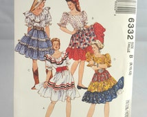 McCall's Pattern 6332 - Rockabilly, Peasant, Gypsy, Pirate - Top and Skirt - Misses Size 8,10,12 - Halloween Costume, Theme Party