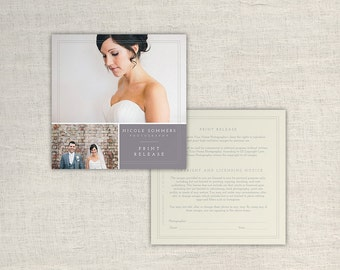 Photography Print Release Form - Photographer Print Release Template - Copyright Form for Wedding Photographers - INSTANT DOWNLOAD