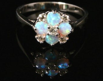 Opal & Diamond Cluster Ring White Gold