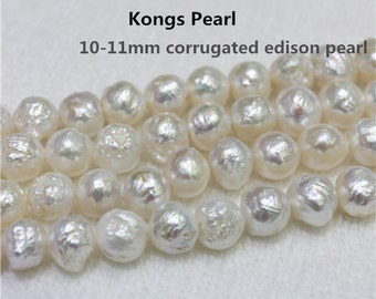 10-11mm Corrugated Edsion Pearl Strands,Large Wrinkle Baroque Edison Pearl Clearance Price,DIY irregular pearl material strand