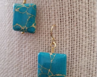 Gold Accented Turquoise Squares
