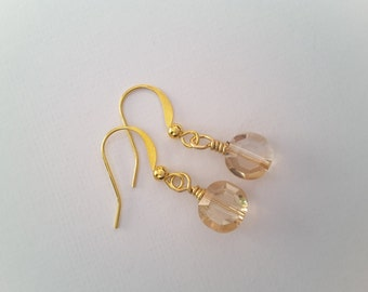 Champagne Crystal Drops. Earrings.