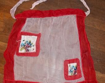 Vintage Red & White Sheer Apron