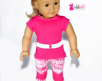 American made Girl Doll Clothes, 18 inch Doll Clothing, Hot Pink Top, Hot Pink Tie-Dye Capris made to fit like American girl doll clothes