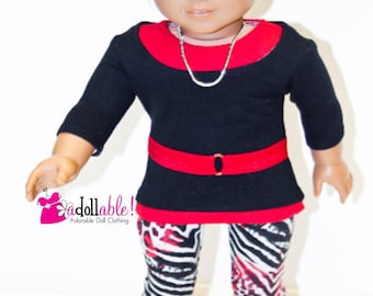 American made Girl Doll Clothes, 18 inch Girl Doll Clothing, Top, Tank, Animal Print Leggings made to fit like American girl doll clothes