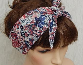 Retro tie up headband, rockabilly hair scarf, 50's headscarf, pin up head wrap, cotton fabric head scarf