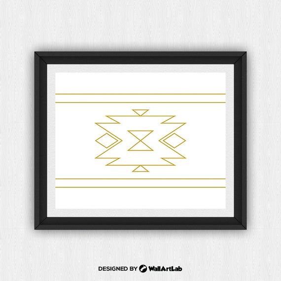 gold navajo print aztec home decor native american art