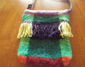 Hand Woven Variegated Wool Purse - Green, Yellow, Purple, Red