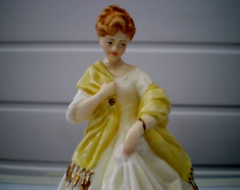 Royal Worcester Fine Bone China Figurine - First Dance - Modelled by F G Doughty - White/Lemon Colourway - 3629 - England