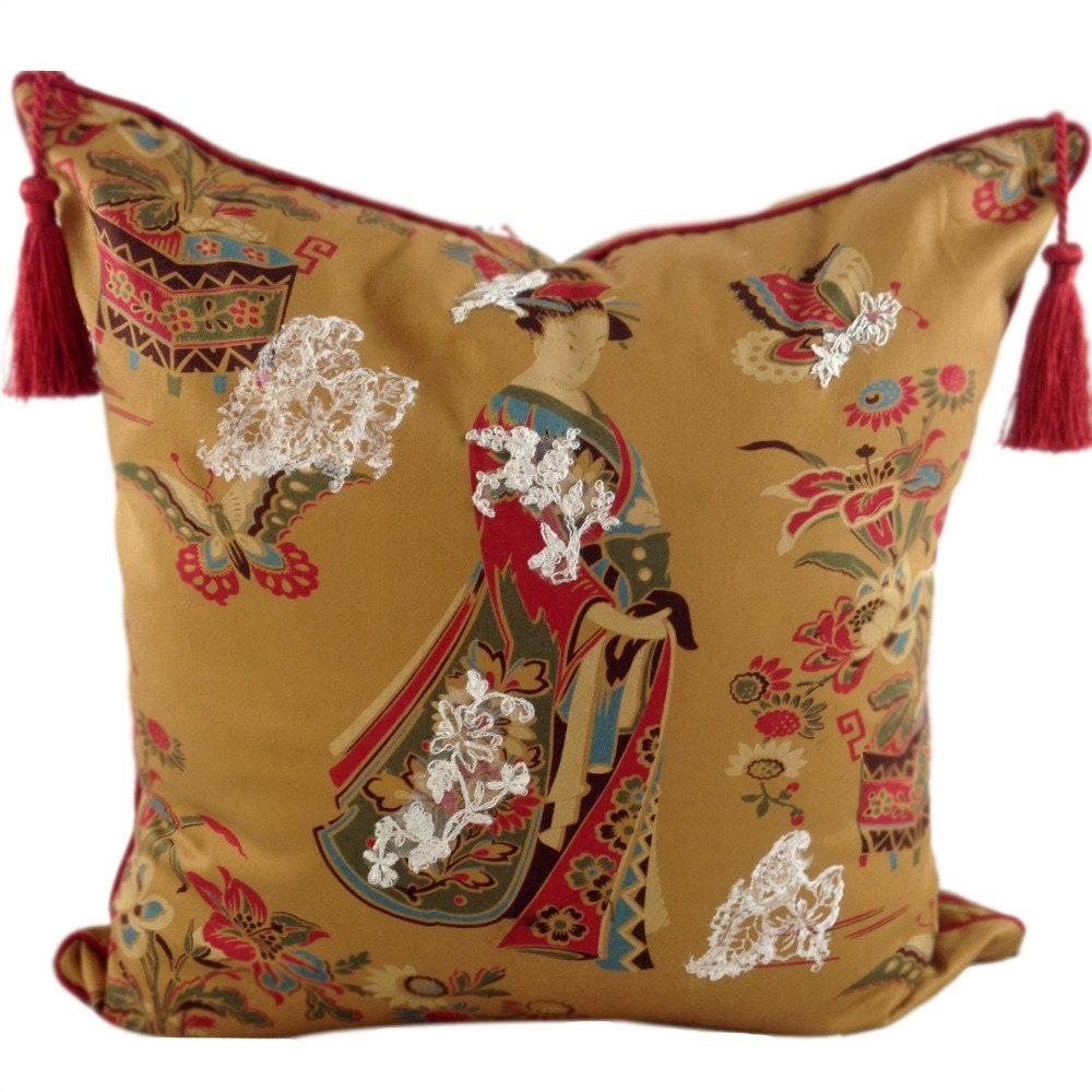 Decorative Pillows With Tassels : Gold Throw Pillow Tassels on Pillow Japanese Home Decor