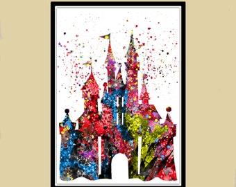 Cinderella castle inspired, Princess Castle, Watercolor Print, Castle Print, from European fairy tales (204b)