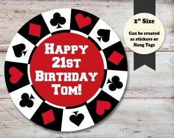 Personalized Poker Stickers, Poker Favor Tags, Poker Cupcake Picks, Casino Night Favors, Casino Stickers, Poker, INSTANT DOWNLOAD Editable