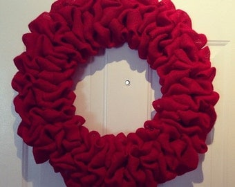 Plain RED burlap Wreath Base/ Red Wreath
