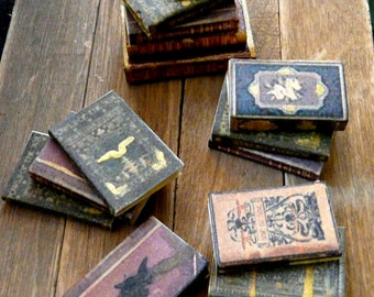 Dollhouse Miniature Books -SET OF 3- 1:12 Aged Bound Library Mini Leather-Look Hardcover Vintage 1/12 Scale Victorian Spell Study Spellbooks