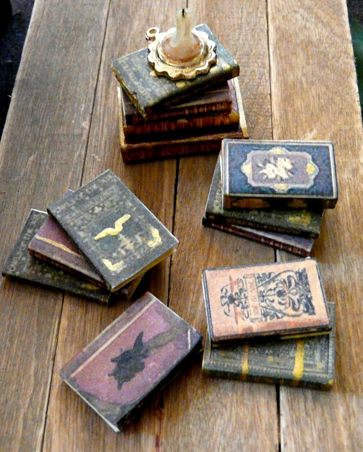 Dollhouse Miniature Books SET OF 3 1:12 Aged Bound Library