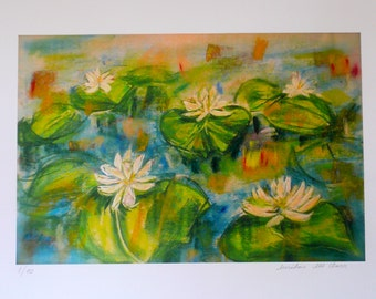 White Lilies Pond,contemporary limited edition print of my original pastel,large size,signed & numbered,on paper ARCHES 300gsm,100%cotton