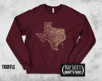 Texas Road Map Sweatshirt, American Apparel Cotton Fleece Pullover Crewneck, Texas sweatshirt, longhorns sweatshirt, Austin sweatshirt