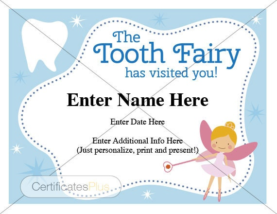 Tooth Fairy Certificate kid certificate award child