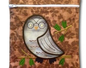 Wrist Strap added to Reusable Quart-size Zipper Embroidered Bag with Window - Owl