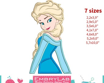 Applique Princess Elsa. Frozen. Machine Embroidery Applique Design. Instant Digital Download (16185)
