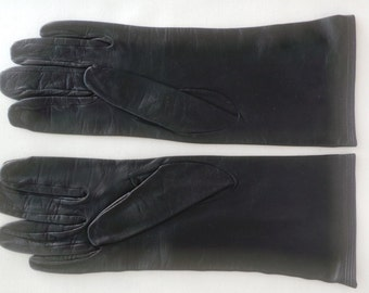 Gloves leather vintage shoulder-length black woman Women Leather gloves size 6 1/2 - Size S very good condition