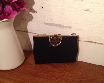 Vintage 1980's fabric Handbag with gold edge-