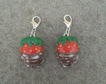 Polymer Clay Chocolate Covered Strawberry Charm