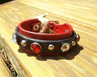 Red and Black leather bracelet