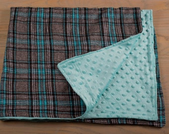 Turquoise Flannel Baby Blanket-Classic Baby Blanket