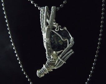 Blue Boro Glass Cabochon Wire Wrapped Pendant Necklace
