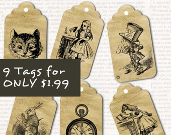 Nine Alice In Wonderland Tags Digital Download