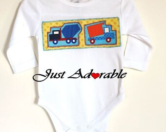 Baby Boy Clothes, Baby Boy Outfit, Baby  Boy Onsie, Appliqued Truck Long Sleeved baby Boy Onsie  3 – 6  months  Ready to ship 20% off